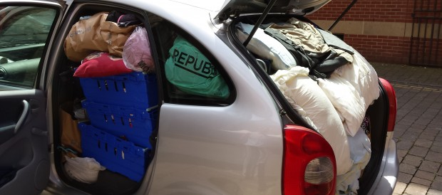 Students certainly know how to pack Mum and Dad's car…